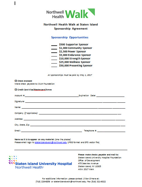 Northwell Health Sponsorship Form